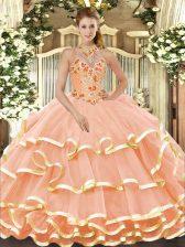 Peach Organza Lace Up Halter Top Sleeveless Floor Length Vestidos de Quinceanera Beading and Embroidery