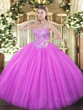 Sleeveless Tulle Floor Length Lace Up Quinceanera Gown in Lilac with Appliques