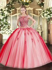 Tulle Scoop Sleeveless Lace Up Beading and Appliques Quinceanera Gowns in Coral Red