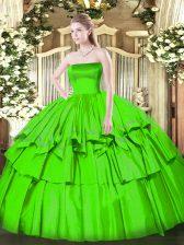 Sleeveless Floor Length Ruffled Layers Zipper Vestidos de Quinceanera with