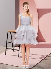 Organza Sleeveless Mini Length Prom Evening Gown and Beading and Ruffled Layers