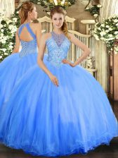 Shining Blue Tulle Lace Up Quinceanera Dresses Sleeveless Floor Length Beading
