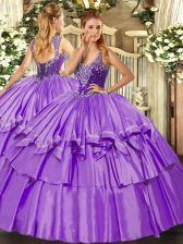 Vintage Sleeveless Lace Up Floor Length Beading and Ruffled Layers Vestidos de Quinceanera