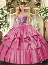 Custom Fit Sleeveless Beading and Ruffled Layers Lace Up Sweet 16 Dresses