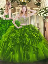 High Quality Two Pieces 15 Quinceanera Dress Olive Green Scoop Organza Sleeveless Floor Length Lace Up