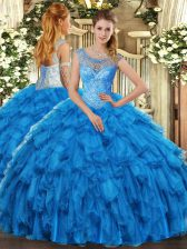 Ideal Baby Blue Scoop Neckline Beading and Ruffles Sweet 16 Dresses Sleeveless Lace Up
