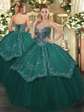 Sleeveless Lace Up Floor Length Beading and Embroidery Ball Gown Prom Dress