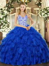 Glamorous Royal Blue Sweet 16 Dresses Sweet 16 and Quinceanera with Beading and Ruffles Straps Sleeveless Lace Up