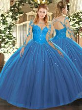 Artistic Lace Quince Ball Gowns Teal Lace Up Long Sleeves Floor Length