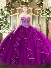 Graceful Fuchsia Ball Gowns Sweetheart Sleeveless Tulle Floor Length Lace Up Beading and Ruffles Quinceanera Dress