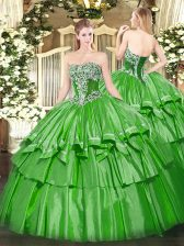 Fancy Green Strapless Neckline Beading and Ruffled Layers Quinceanera Gowns Sleeveless Lace Up
