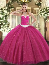 Floor Length Hot Pink Sweet 16 Quinceanera Dress Sweetheart Sleeveless Lace Up