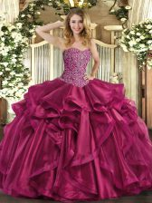 Sweetheart Sleeveless Lace Up 15th Birthday Dress Wine Red Organza