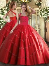 Fantastic Red Tulle Lace Up 15 Quinceanera Dress Sleeveless Floor Length Appliques
