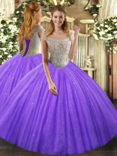 Lavender Ball Gowns Beading Quinceanera Dresses Lace Up Tulle Sleeveless Floor Length