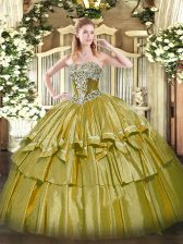 Strapless Sleeveless Quinceanera Dresses Floor Length Beading and Ruffled Layers Olive Green Organza and Taffeta