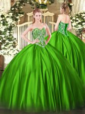 Colorful Floor Length Ball Gowns Sleeveless Green Sweet 16 Dresses Lace Up