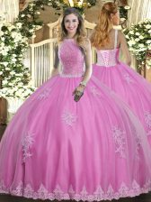 Floor Length Lace Up 15 Quinceanera Dress Rose Pink for Military Ball and Sweet 16 and Quinceanera with Beading and Appliques