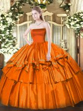 Exquisite Orange Red Ball Gowns Strapless Sleeveless Organza Floor Length Zipper Ruffled Layers Ball Gown Prom Dress