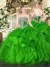 Exquisite Strapless Sleeveless Vestidos de Quinceanera Floor Length Beading and Ruffles Organza