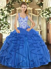 Classical Straps Sleeveless Tulle Sweet 16 Dresses Beading and Appliques and Ruffles Lace Up
