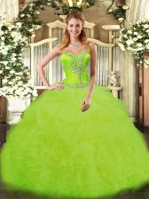 High End Beading and Ruffles Quinceanera Gowns Yellow Green Lace Up Sleeveless Floor Length