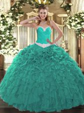Inexpensive Turquoise Sweetheart Lace Up Appliques and Ruffles Quinceanera Gowns Sleeveless