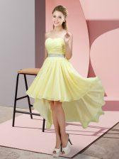 Light Yellow Sweetheart Lace Up Beading Prom Dress Sleeveless