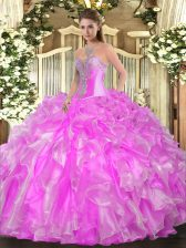 Organza Sleeveless Floor Length Quinceanera Gown and Beading and Ruffles