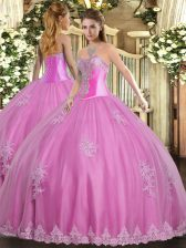 Sleeveless Lace Up Floor Length Beading and Appliques Quinceanera Gown