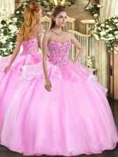 Modern Organza and Tulle Sleeveless Floor Length Sweet 16 Quinceanera Dress and Embroidery