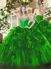 Sleeveless Floor Length Beading and Ruffles Lace Up Ball Gown Prom Dress with Green