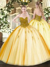 Dazzling Gold Sleeveless Tulle Lace Up Vestidos de Quinceanera for Military Ball and Sweet 16 and Quinceanera