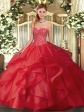 Red Lace Up Quinceanera Gown Beading and Ruffles Sleeveless Floor Length