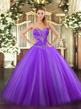 Custom Designed Ball Gowns Quince Ball Gowns Eggplant Purple Sweetheart Tulle Sleeveless Floor Length Lace Up