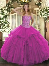 Luxurious Sweetheart Sleeveless Lace Up Quinceanera Gowns Fuchsia Tulle
