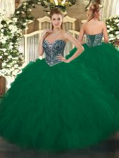 Sleeveless Floor Length Beading and Ruffles Lace Up Vestidos de Quinceanera with Dark Green