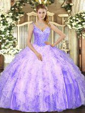 Lavender Lace Up V-neck Beading and Ruffles Sweet 16 Dresses Tulle Sleeveless