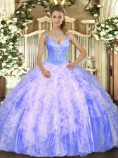 Lavender Tulle Lace Up 15th Birthday Dress Sleeveless Floor Length Beading and Ruffles