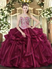 Wine Red Sweetheart Neckline Beading and Ruffles Sweet 16 Quinceanera Dress Sleeveless Lace Up