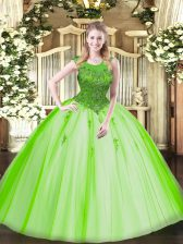 Decent Scoop Sleeveless Quinceanera Dresses Floor Length Beading Tulle