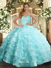 Adorable Floor Length Lace Up Quince Ball Gowns Apple Green for Military Ball and Sweet 16 and Quinceanera with Ruffled Layers
