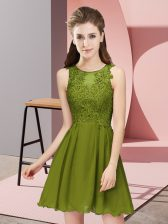 Exquisite Mini Length Olive Green Quinceanera Dama Dress Scoop Sleeveless Zipper