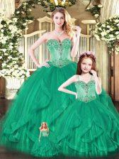 Comfortable Aqua Blue Sleeveless Beading and Ruffles Floor Length 15 Quinceanera Dress