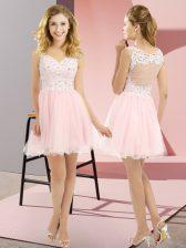 Mini Length Empire Sleeveless Baby Pink Damas Dress Lace Up