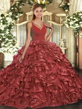 Floor Length Red Vestidos de Quinceanera Taffeta Sleeveless Beading and Ruffles