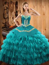 Stylish Sleeveless Satin and Organza Floor Length Lace Up Quinceanera Gowns in Teal with Embroidery and Ruffled Layers