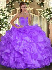 Sweetheart Sleeveless Sweet 16 Dress Floor Length Beading and Ruffles Purple Organza