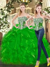 Discount Floor Length Lace Up Quinceanera Gowns Green for Military Ball and Sweet 16 and Quinceanera with Beading and Ruffles