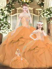 Classical Orange Red Off The Shoulder Lace Up Beading and Ruffles Quinceanera Dresses Sleeveless